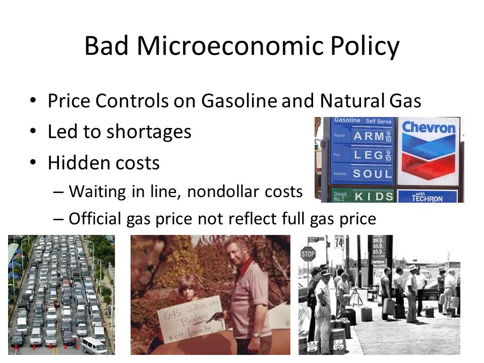 Bad Microeconomic Policy Price Controls on Gasoline and Natural Gas Led to shortages Hidden costs – Waiting in line, nondollar costs – Official gas price not reflect full gas price