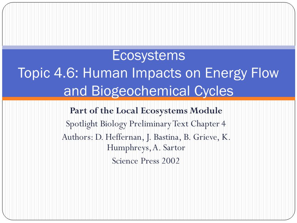 Part of the Local Ecosystems Module Spotlight Biology Preliminary Text Chapter 4 Authors: D.