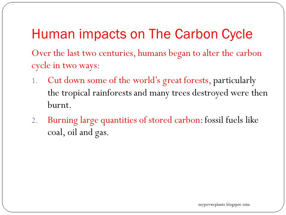 Human impacts on The Carbon Cycle Over the last two centuries, humans began to alter the carbon cycle in two ways: 1.