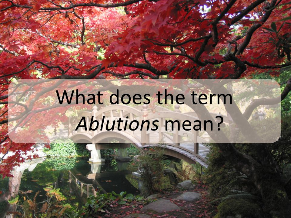 What does the term Ablutions mean?