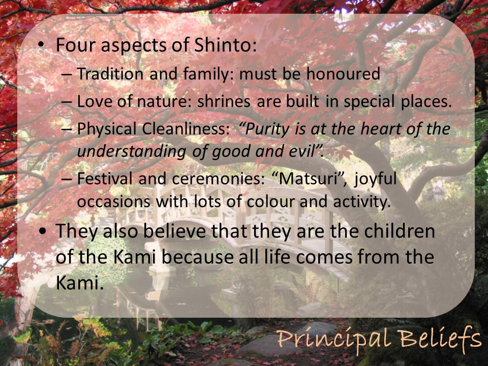 Principal Beliefs Four aspects of Shinto: – Tradition and family: must be honoured – Love of nature: shrines are built in special places. – Physical C