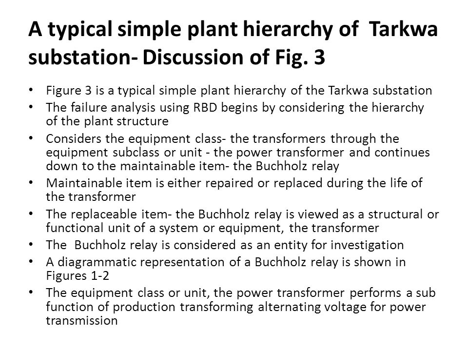 A typical simple plant hierarchy of Tarkwa substation- Discussion of Fig.