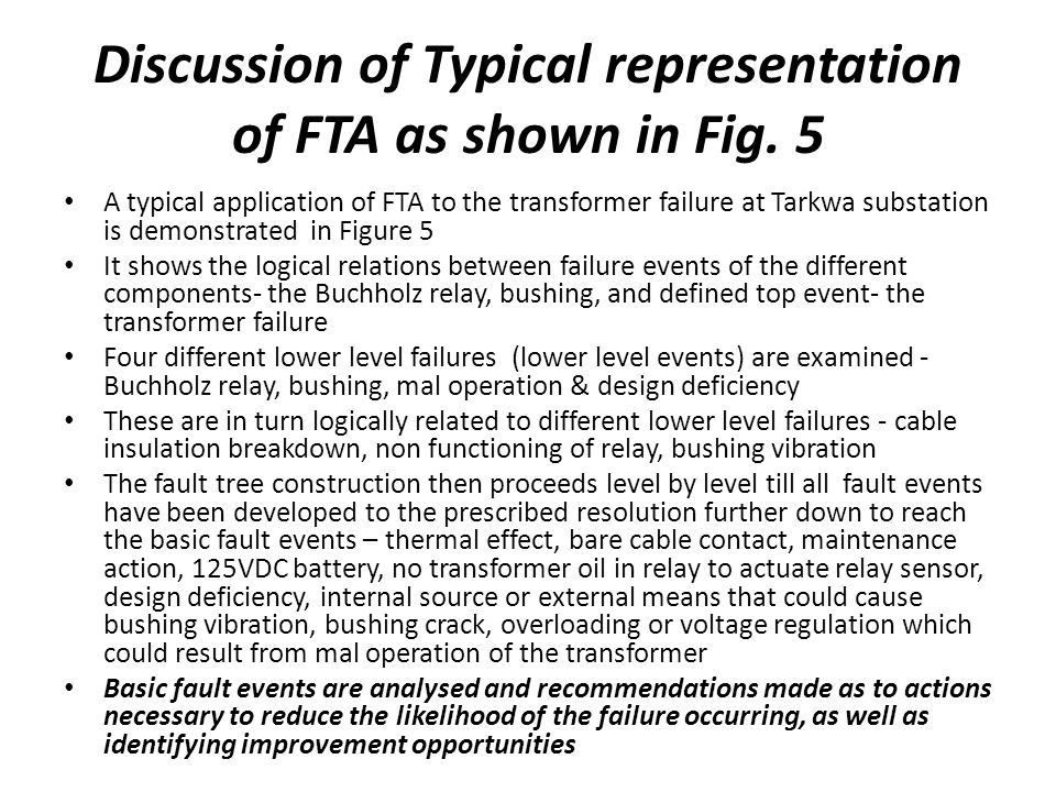 Discussion of Typical representation of FTA as shown in Fig.