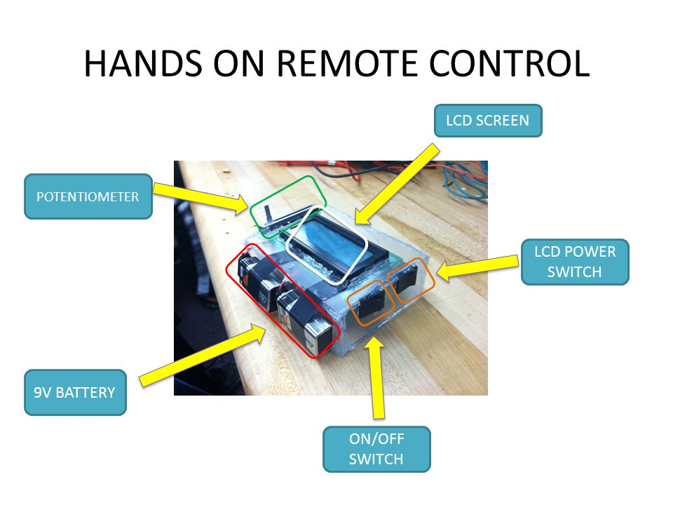 HANDS ON REMOTE CONTROL 9V BATTERY ON/OFF SWITCH LCD SCREEN POTENTIOMETER LCD POWER SWITCH