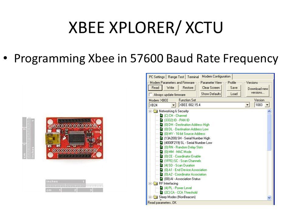 XBEE XPLORER/ XCTU Programming Xbee in 57600 Baud Rate Frequency