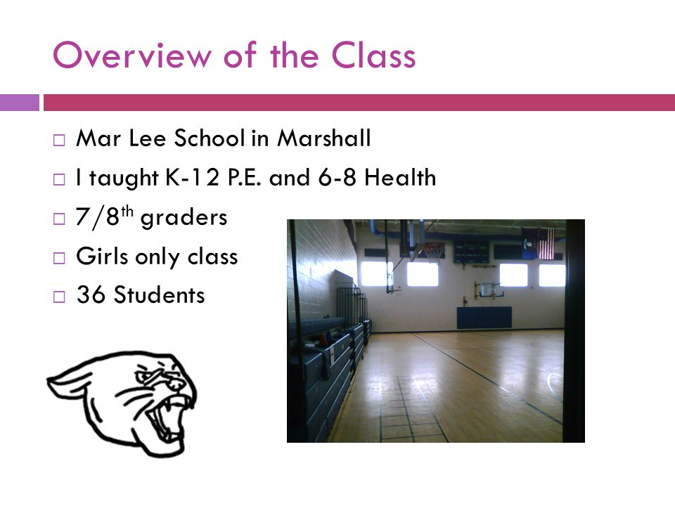 Overview of the Class  Mar Lee School in Marshall  I taught K-12 P.E. and 6-8 Health  7/8 th graders  Girls only class  36 Students