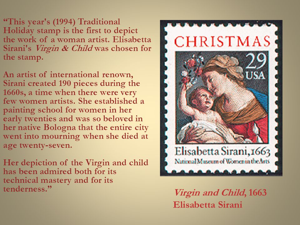 This year s (1994) Traditional Holiday stamp is the first to depict the work of a woman artist.