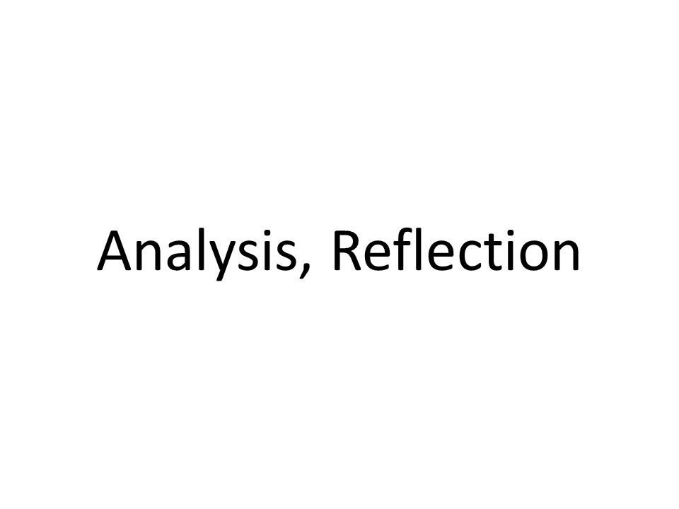 Analysis, Reflection