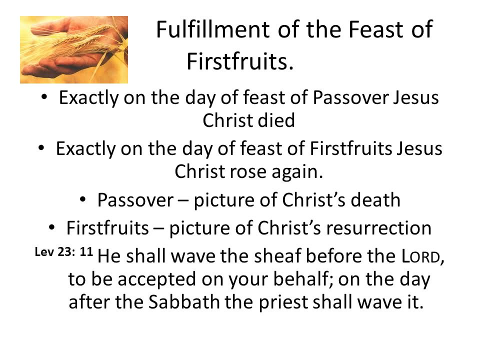 Fulfillment of the Feast of Firstfruits.