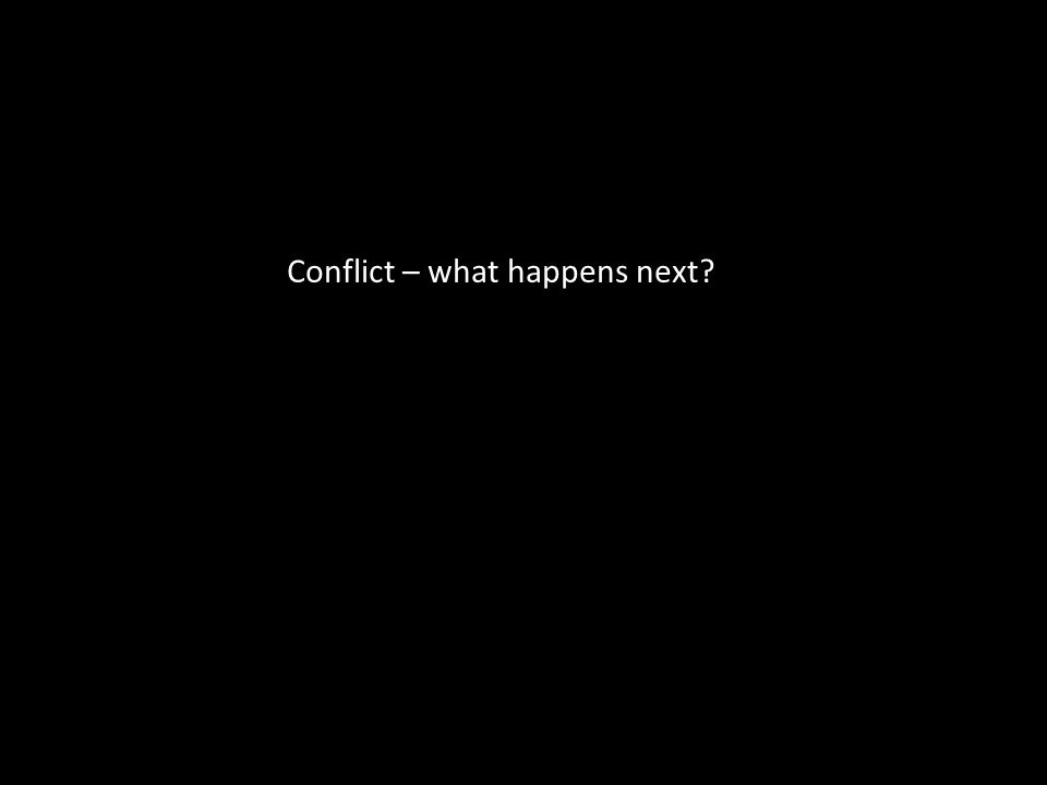 Conflict – what happens next