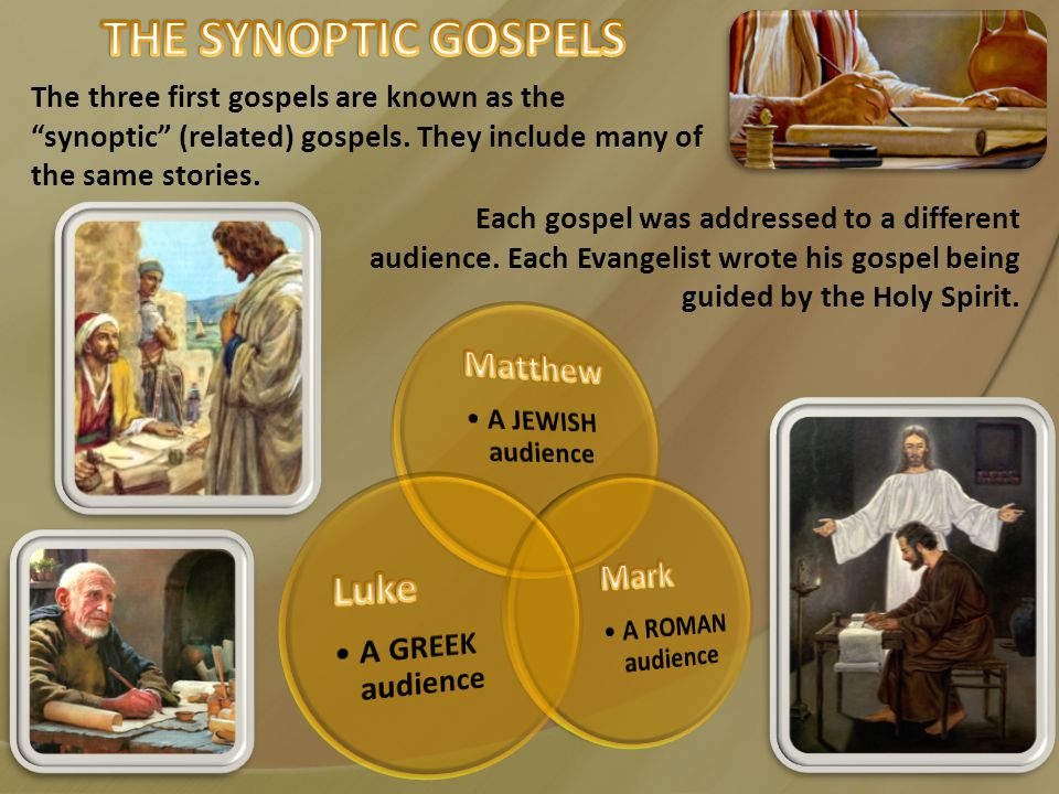 The three first gospels are known as the synoptic (related) gospels.