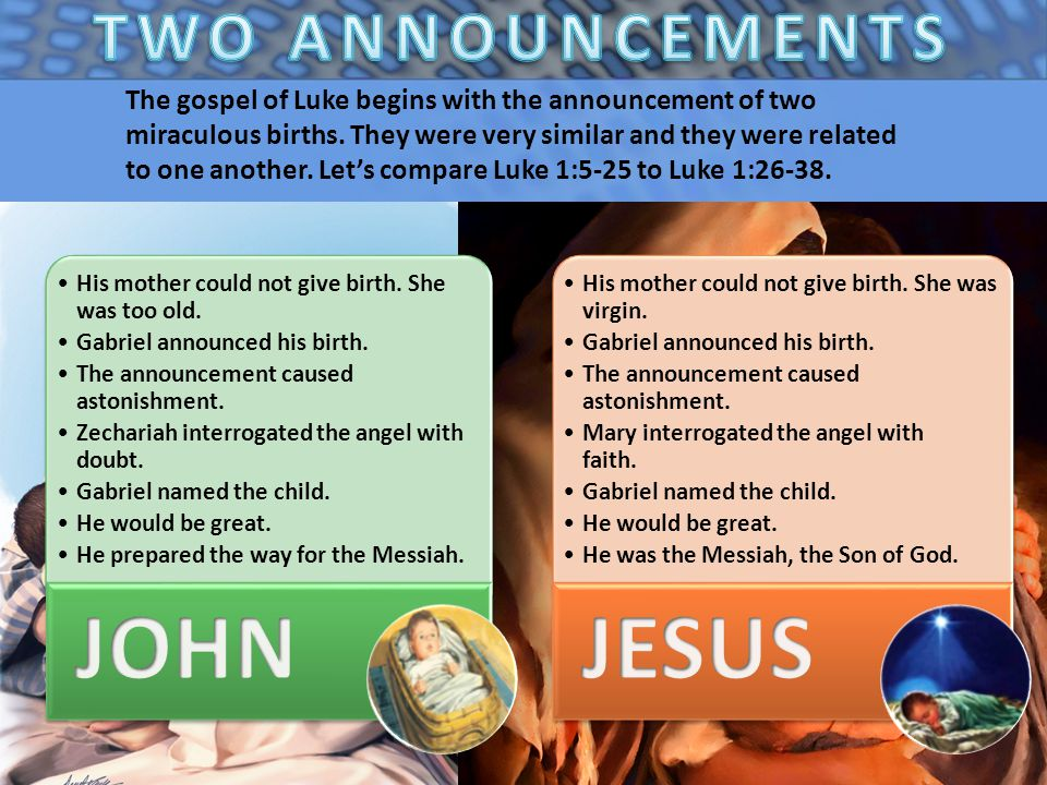 The gospel of Luke begins with the announcement of two miraculous births.