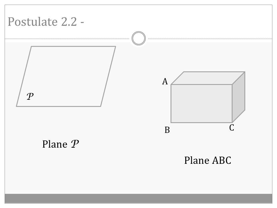Postulate 2.1 - A B