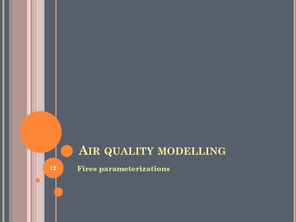 A IR QUALITY MODELLING Fires parameterizations 12