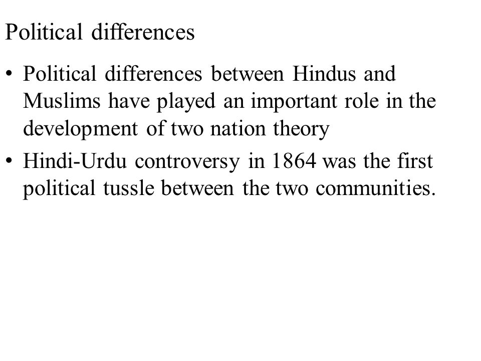 Political differences Political differences between Hindus and Muslims have played an important role in the development of two nation theory Hindi-Urd