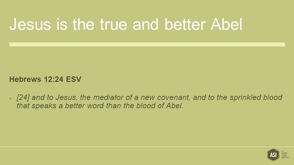 Jesus is the true and better Abel Hebrews 12:24 ESV  [24] and to Jesus, the mediator of a new covenant, and to the sprinkled blood that speaks a better word than the blood of Abel.