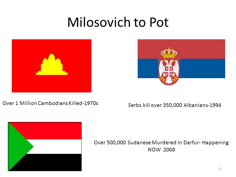 Milosovich to Pot Serbs kill over 350,000 Albanians-1994 Over 1 Million Cambodians Killed-1970s Over 500,000 Sudanese Murdered in Darfur- Happening NO