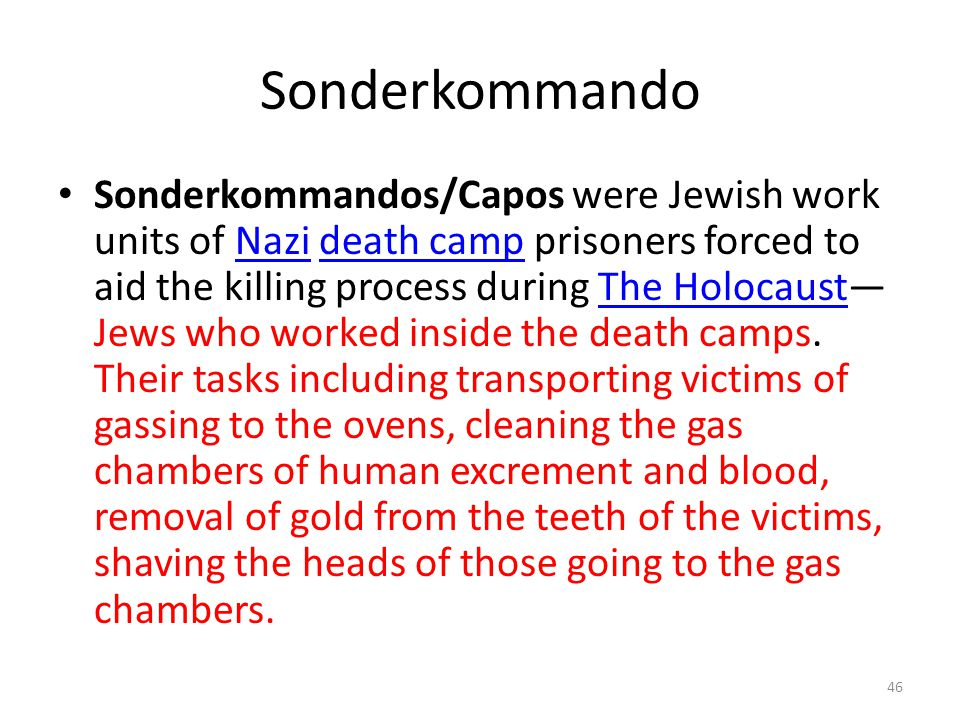 Sonderkommando Sonderkommandos/Capos were Jewish work units of Nazi death camp prisoners forced to aid the killing process during The Holocaust— Jews