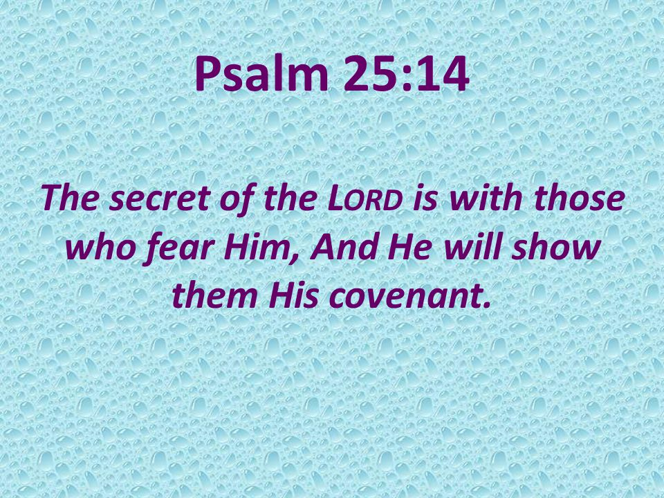 Psalm 25:14 The secret of the L ORD is with those who fear Him, And He will show them His covenant.