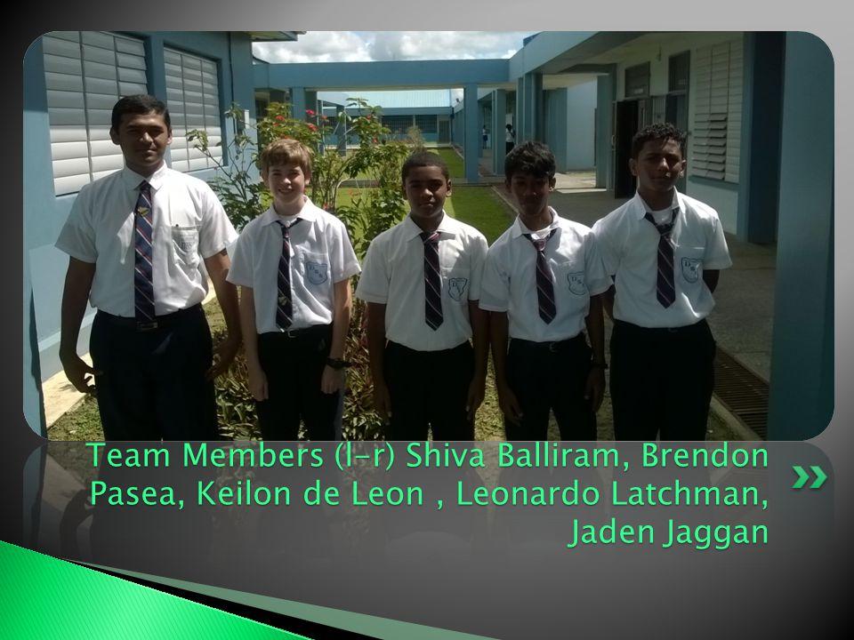 Team Members (l-r) Shiva Balliram, Brendon Pasea, Keilon de Leon, Leonardo Latchman, Jaden Jaggan