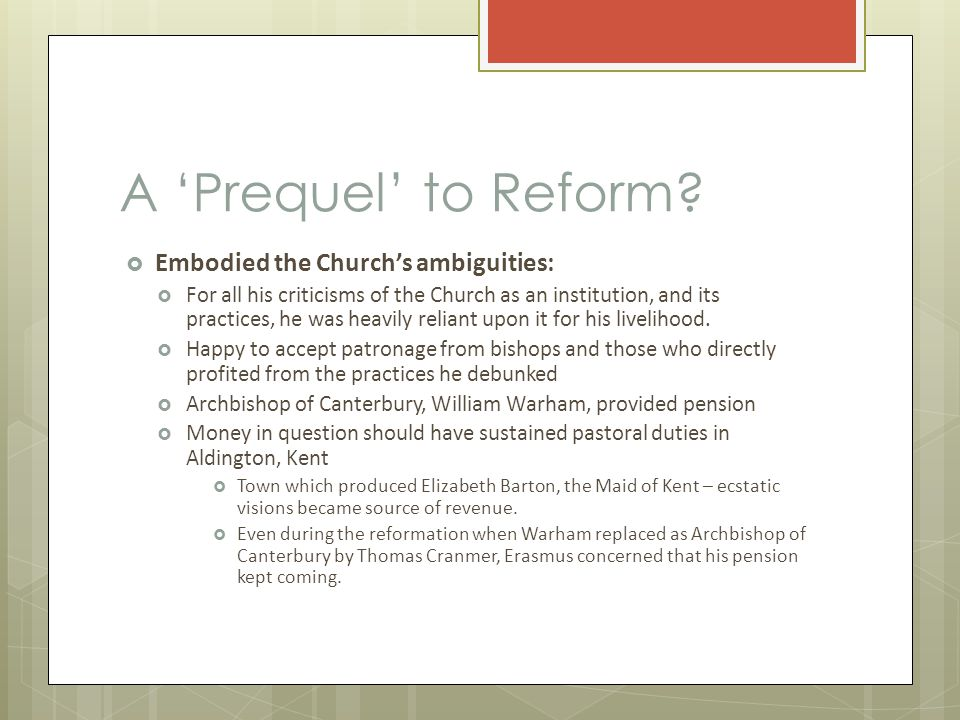 A 'Prequel' to Reform.