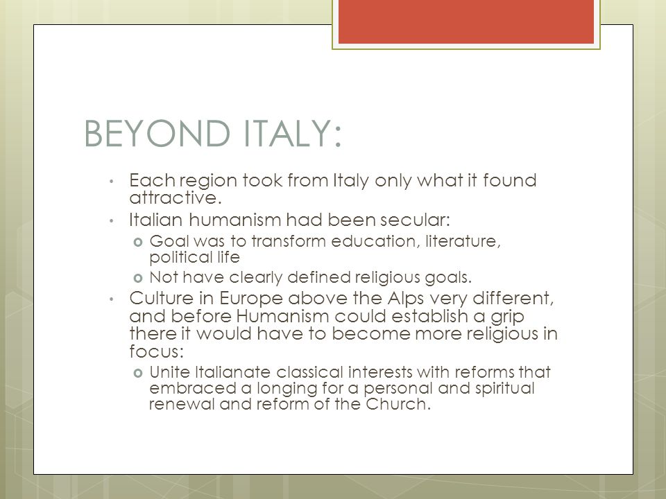 BEYOND ITALY: Each region took from Italy only what it found attractive.