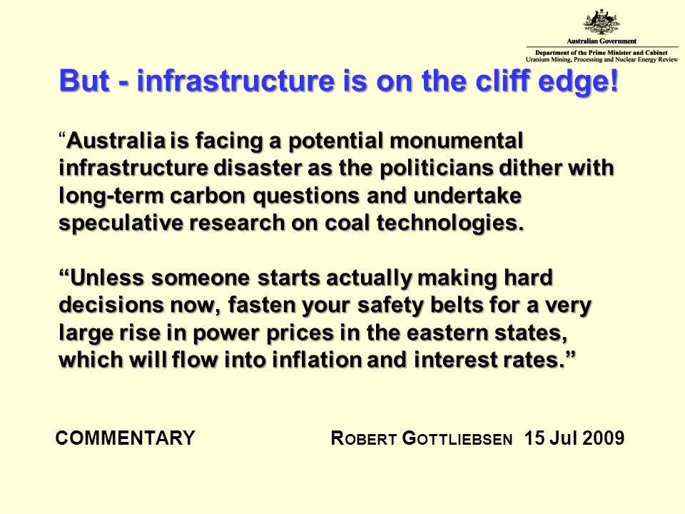 But - infrastructure is on the cliff edge.