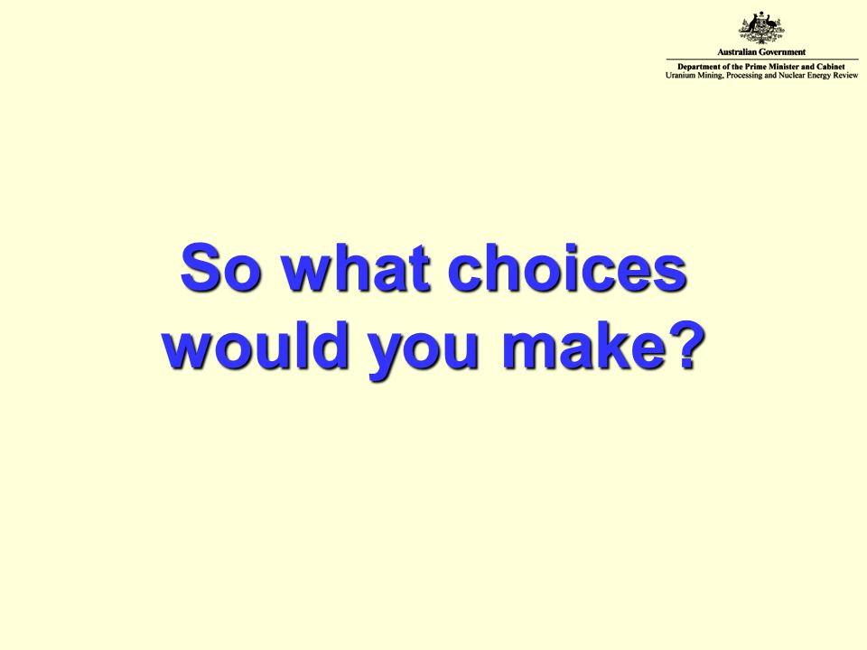 So what choices would you make