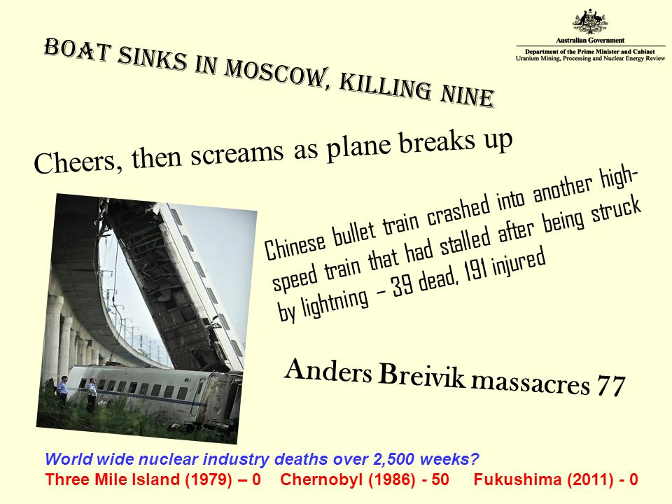 Boat Sinks in Moscow, Killing Nine Cheers, then screams as plane breaks up Chinese bullet train crashed into another high- speed train that had stalled after being struck by lightning – 39 dead, 191 injured Anders Breivik massacres 77 World wide nuclear industry deaths over 2,500 weeks.