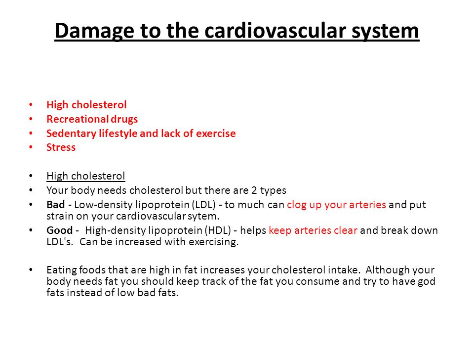 Damage to the cardiovascular system High cholesterol Recreational drugs Sedentary lifestyle and lack of exercise Stress High cholesterol Your body needs cholesterol but there are 2 types Bad - Low-density lipoprotein (LDL) - to much can clog up your arteries and put strain on your cardiovascular sytem.