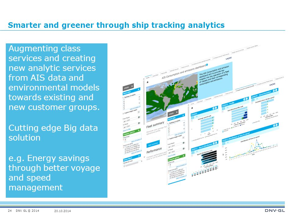 DNV GL © 2014 20.10.2014 Smarter and greener through ship tracking analytics 24 Augmenting class services and creating new analytic services from AIS