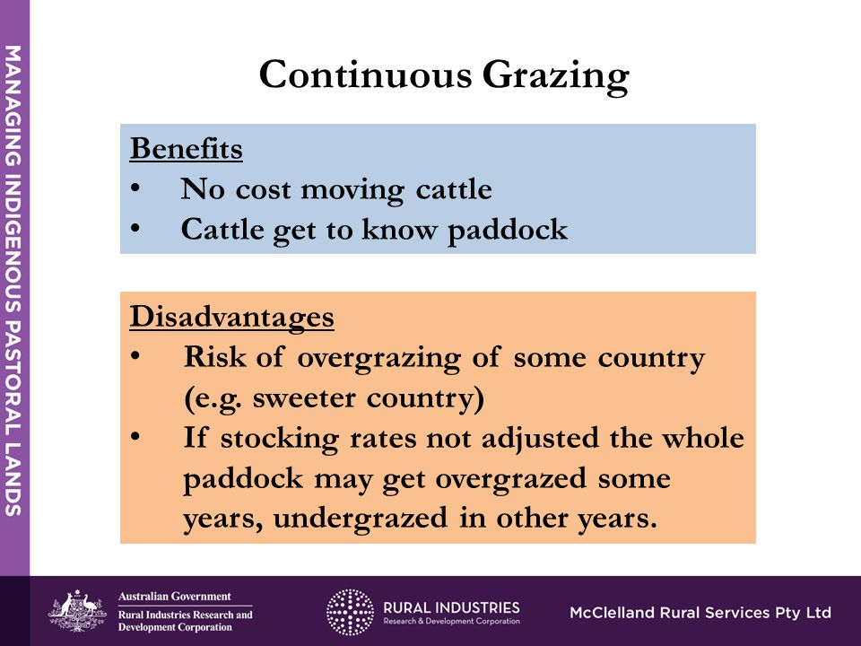 Continuous Grazing Benefits No cost moving cattle Cattle get to know paddock Disadvantages Risk of overgrazing of some country (e.g.