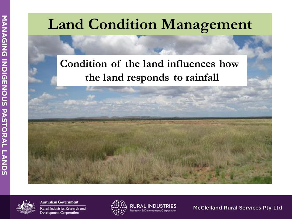 Condition of the land influences how the land responds to rainfall Land Condition Management