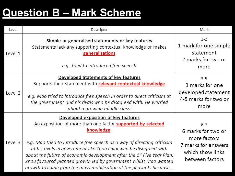 Question B – Mark Scheme LevelDescriptorMark Level 1 Simple or generalised statements or key features Statements lack any supporting contextual knowle