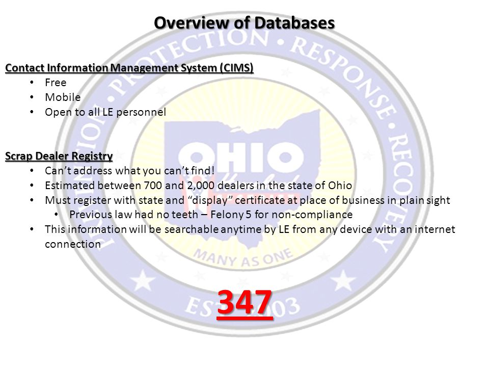 Overview of Databases Contact Information Management System (CIMS) Free Mobile Open to all LE personnel Scrap Dealer Registry Can't address what you c
