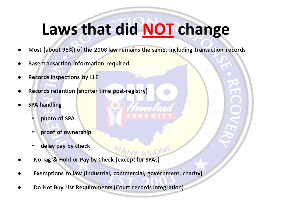 Laws that did NOT change ● Most (about 95%) of the 2008 law remains the same, including transaction records ● Base transaction information required ●