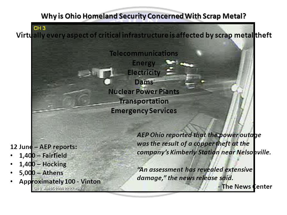 Why is Ohio Homeland Security Concerned With Scrap Metal.