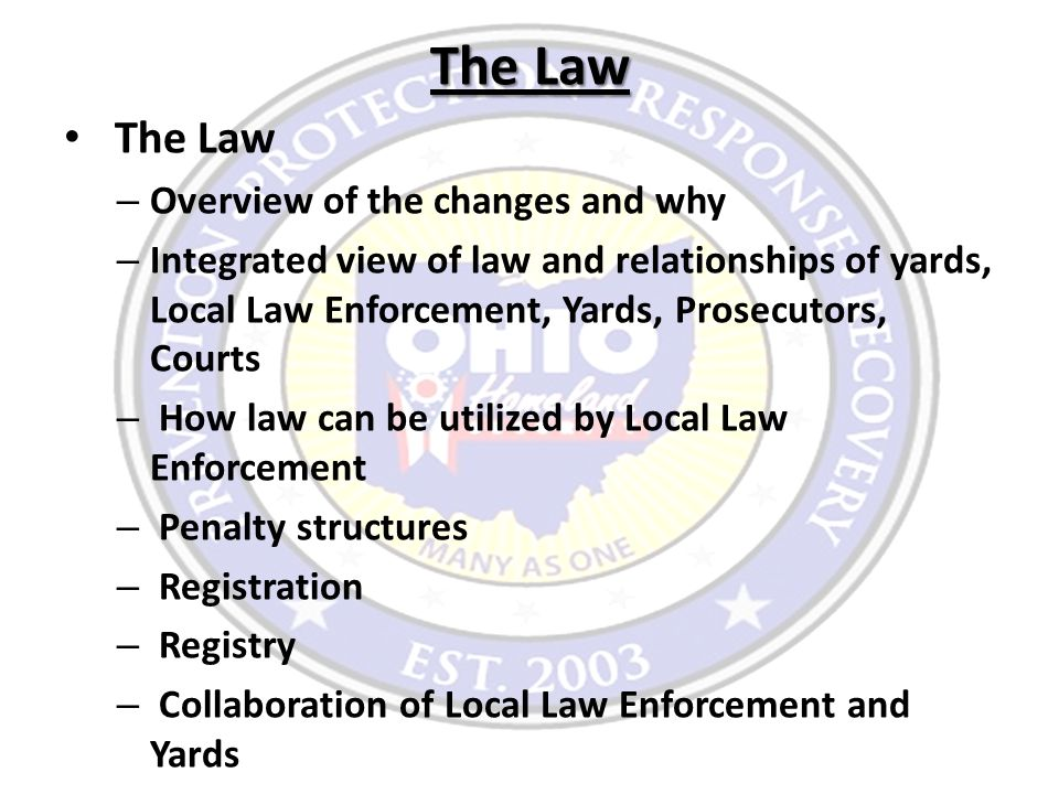 The Law – Overview of the changes and why – Integrated view of law and relationships of yards, Local Law Enforcement, Yards, Prosecutors, Courts – How law can be utilized by Local Law Enforcement – Penalty structures – Registration – Registry – Collaboration of Local Law Enforcement and Yards