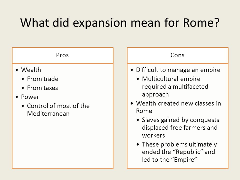 What did expansion mean for Rome.