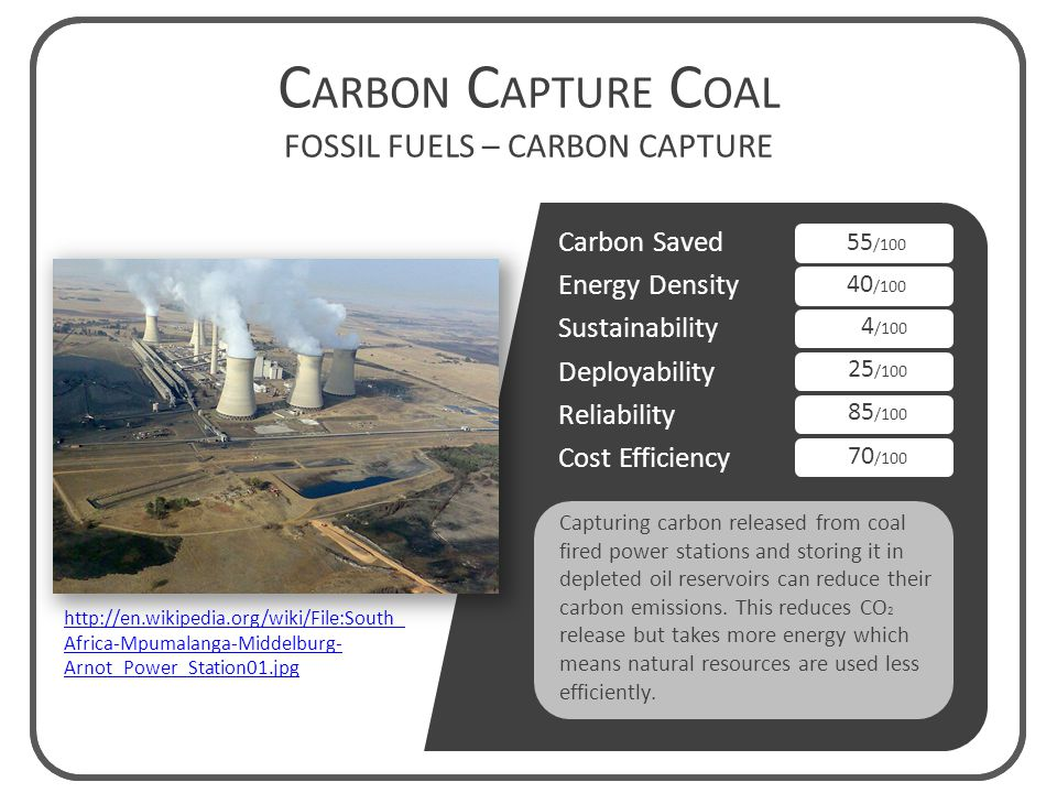 Carbon Saved Energy Density Sustainability Deployability Reliability Cost Efficiency Capturing carbon released from coal fired power stations and storing it in depleted oil reservoirs can reduce their carbon emissions.