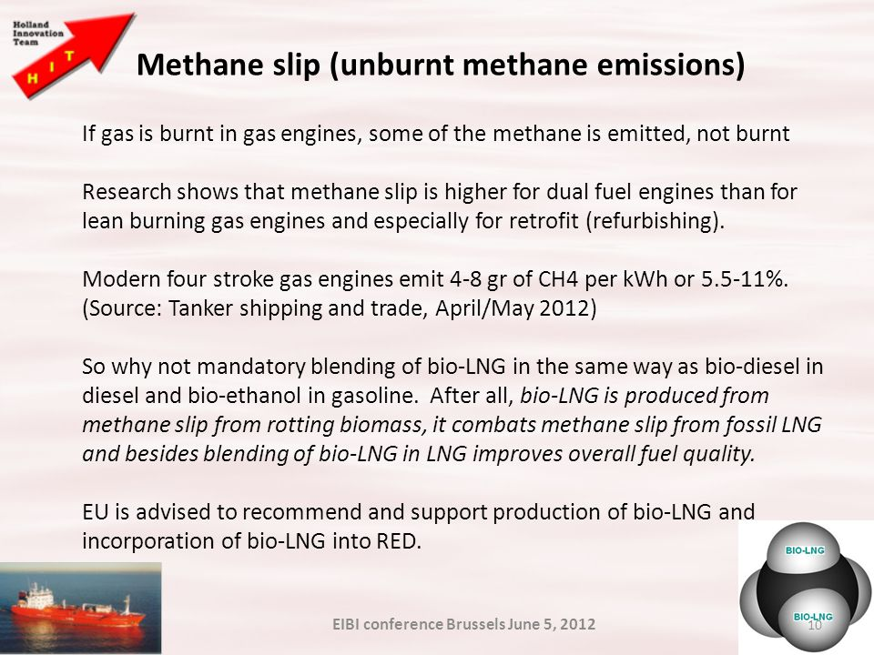10 Methane slip (unburnt methane emissions) If gas is burnt in gas engines, some of the methane is emitted, not burnt Research shows that methane slip is higher for dual fuel engines than for lean burning gas engines and especially for retrofit (refurbishing).