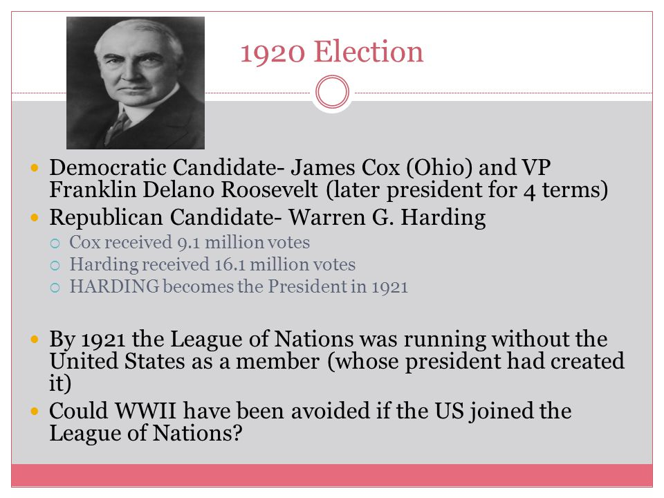 1920 Election Democratic Candidate- James Cox (Ohio) and VP Franklin Delano Roosevelt (later president for 4 terms) Republican Candidate- Warren G. Ha