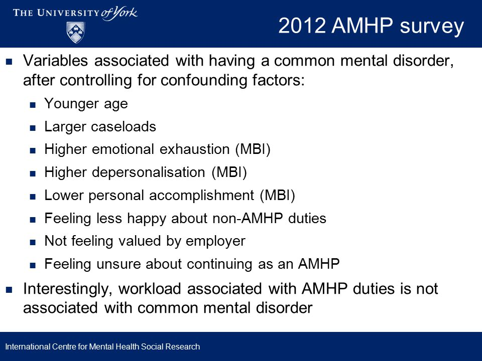 2012 AMHP survey Variables associated with having a common mental disorder, after controlling for confounding factors: Younger age Larger caseloads Higher emotional exhaustion (MBI) Higher depersonalisation (MBI) Lower personal accomplishment (MBI) Feeling less happy about non-AMHP duties Not feeling valued by employer Feeling unsure about continuing as an AMHP Interestingly, workload associated with AMHP duties is not associated with common mental disorder International Centre for Mental Health Social Research