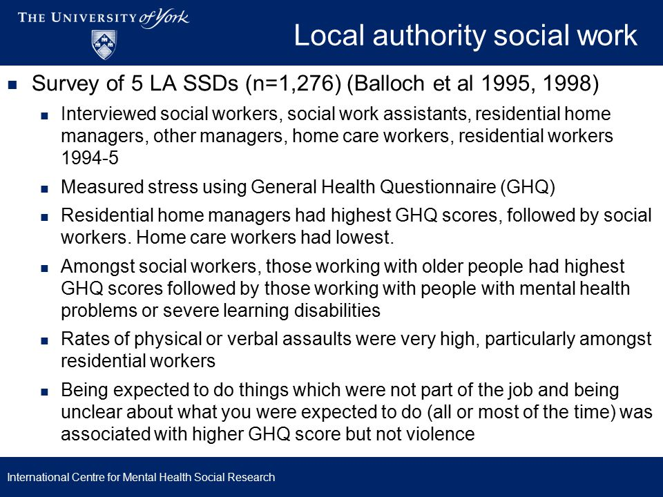 Local authority social work Survey of two LA SSDs (n=1,237) (Coffey et al 2009): 36% staff suffering mental distress (GHQ) Children & families division – highest level of absenteeism and poorest well-being But children & families social workers did not report lower levels of satisfaction than other workers Themes from qualitative interviews: Organisational culture and function Control Lack of resources Responsibility for people Rate and pace of change International Centre for Mental Health Social Research