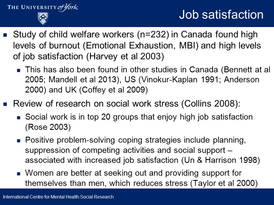 Mental health social workers Systematic review found MHSWs suffer higher levels of stress than other mental health professionals (Coyle et al 2005), because of: Role conflict or ambiguity Statutory responsibilities Low personal achievement High workload Not being valued More recent UK and US studies of MHSW have similar findings to this review (Acker 2009,2010; Acker & Lawrence 2009) International Centre for Mental Health Social Research