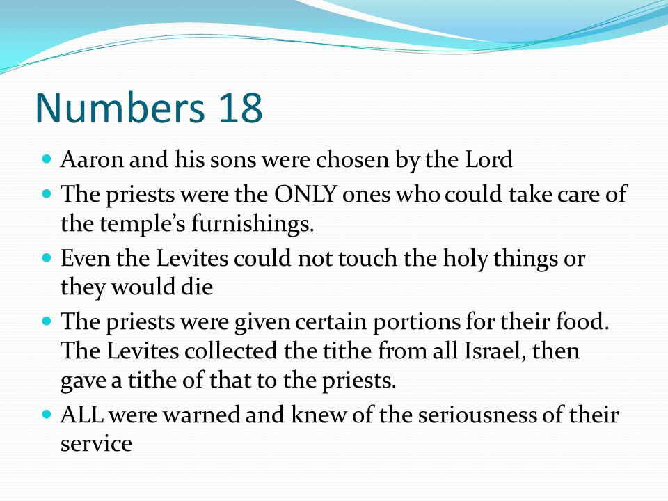 Numbers 18 Aaron and his sons were chosen by the Lord The priests were the ONLY ones who could take care of the temple's furnishings. Even the Levites