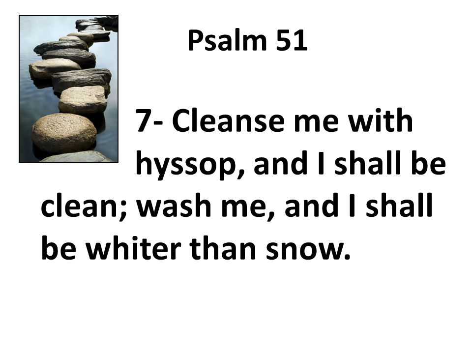 Psalm 51 7- Cleanse me with hyssop, and I shall be clean; wash me, and I shall be whiter than snow.