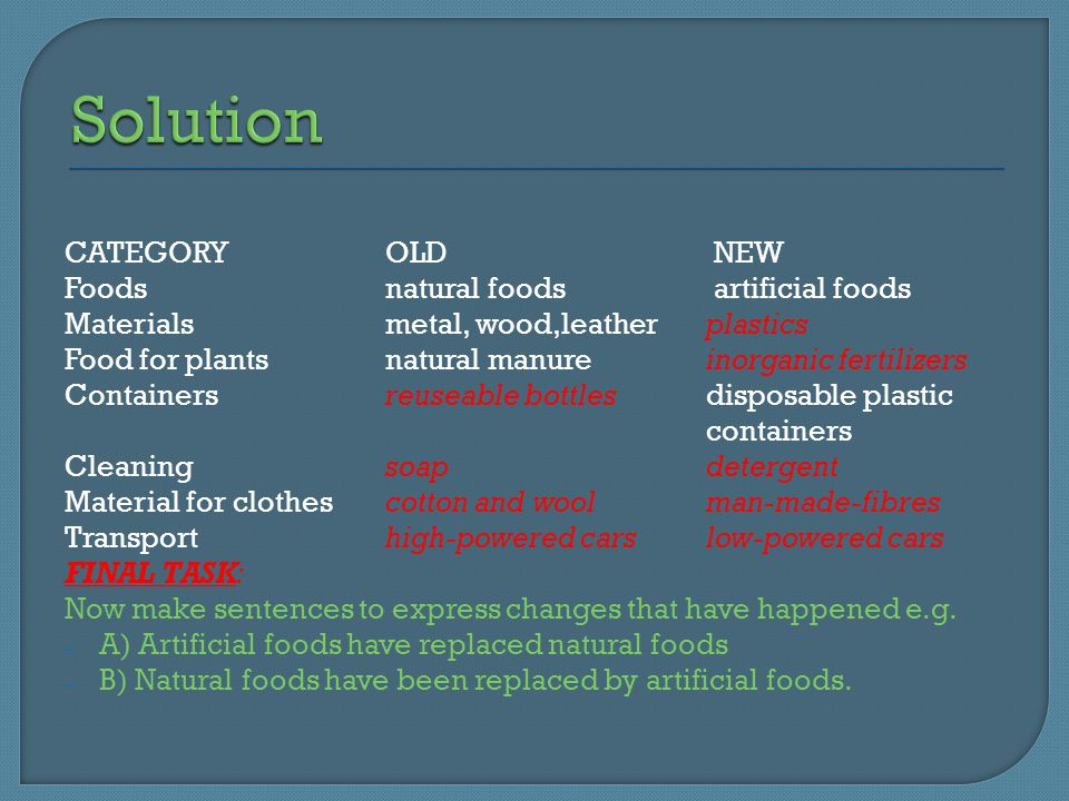 CATEGORYOLD NEW Foodsnatural foods artificial foods Materialsmetal, wood,leather plastics Food for plantsnatural manure inorganic fertilizers Containersreuseable bottlesdisposable plastic containers Cleaningsoapdetergent Material for clothescotton and woolman-made-fibres Transport high-powered carslow-powered cars FINAL TASK: Now make sentences to express changes that have happened e.g.
