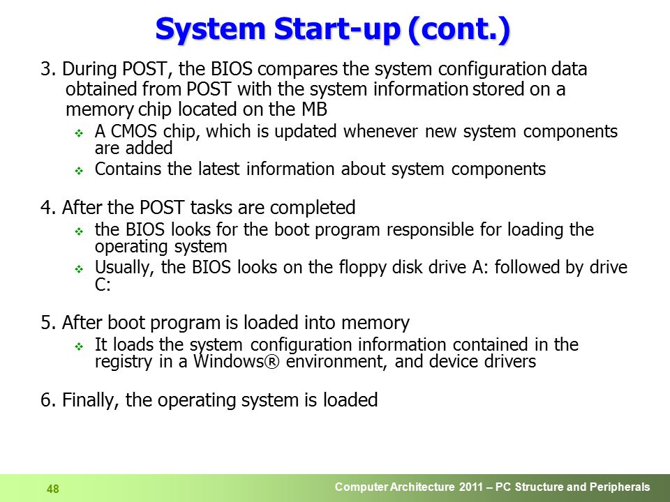 Computer Architecture 2011 – PC Structure and Peripherals 49 Backup