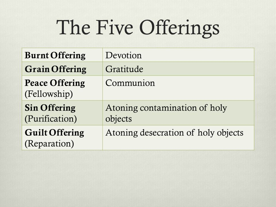 The Five Offerings Burnt Offering Devotion Grain Offering Gratitude Peace Offering (Fellowship) Communion Sin Offering (Purification) Atoning contamination of holy objects Guilt Offering (Reparation) Atoning desecration of holy objects
